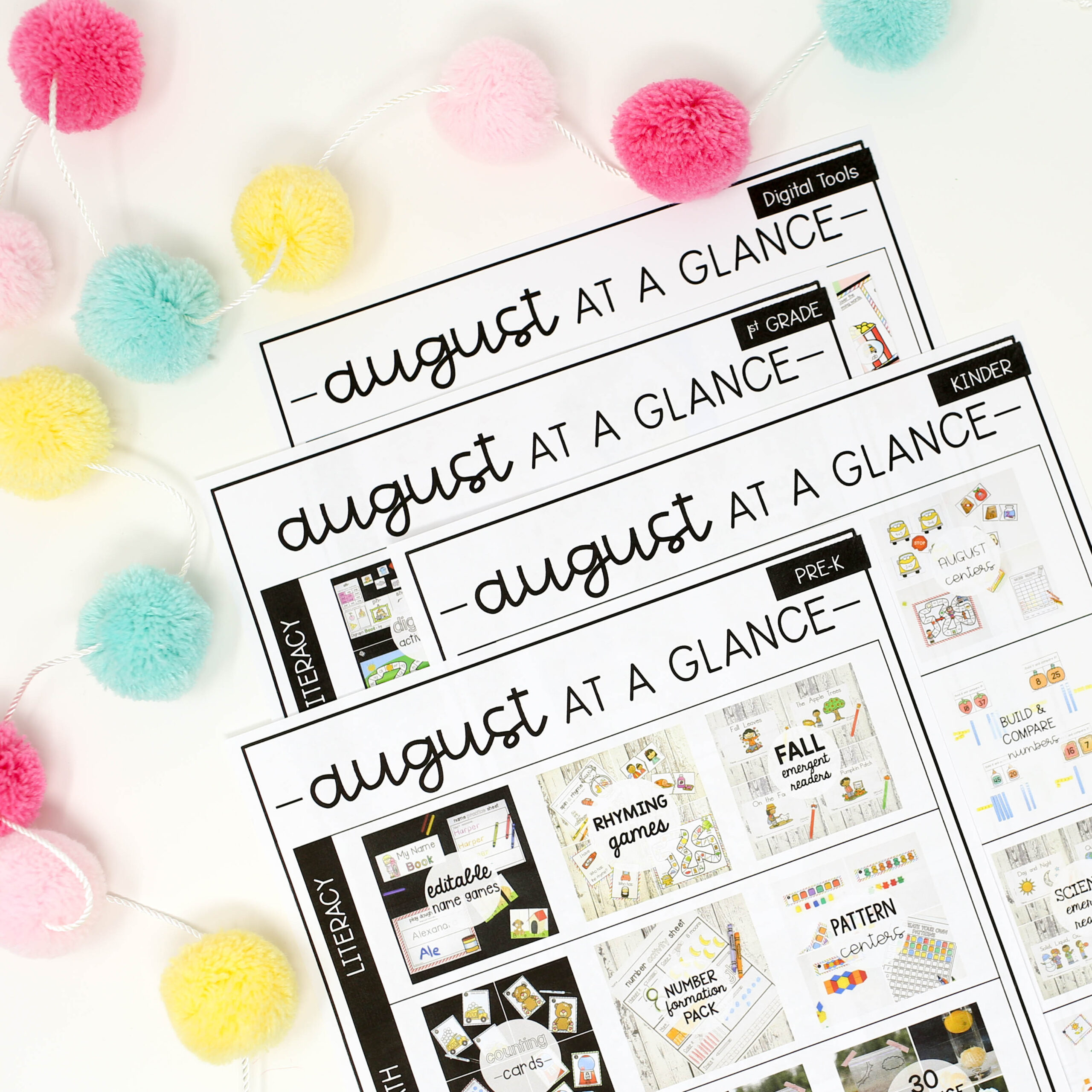 August Month at a Glance Sheets