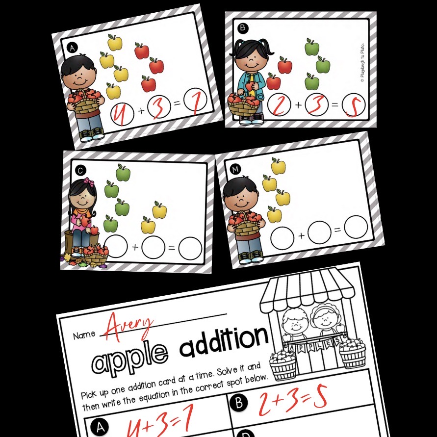 Apple Addition Write and Wipe Cards