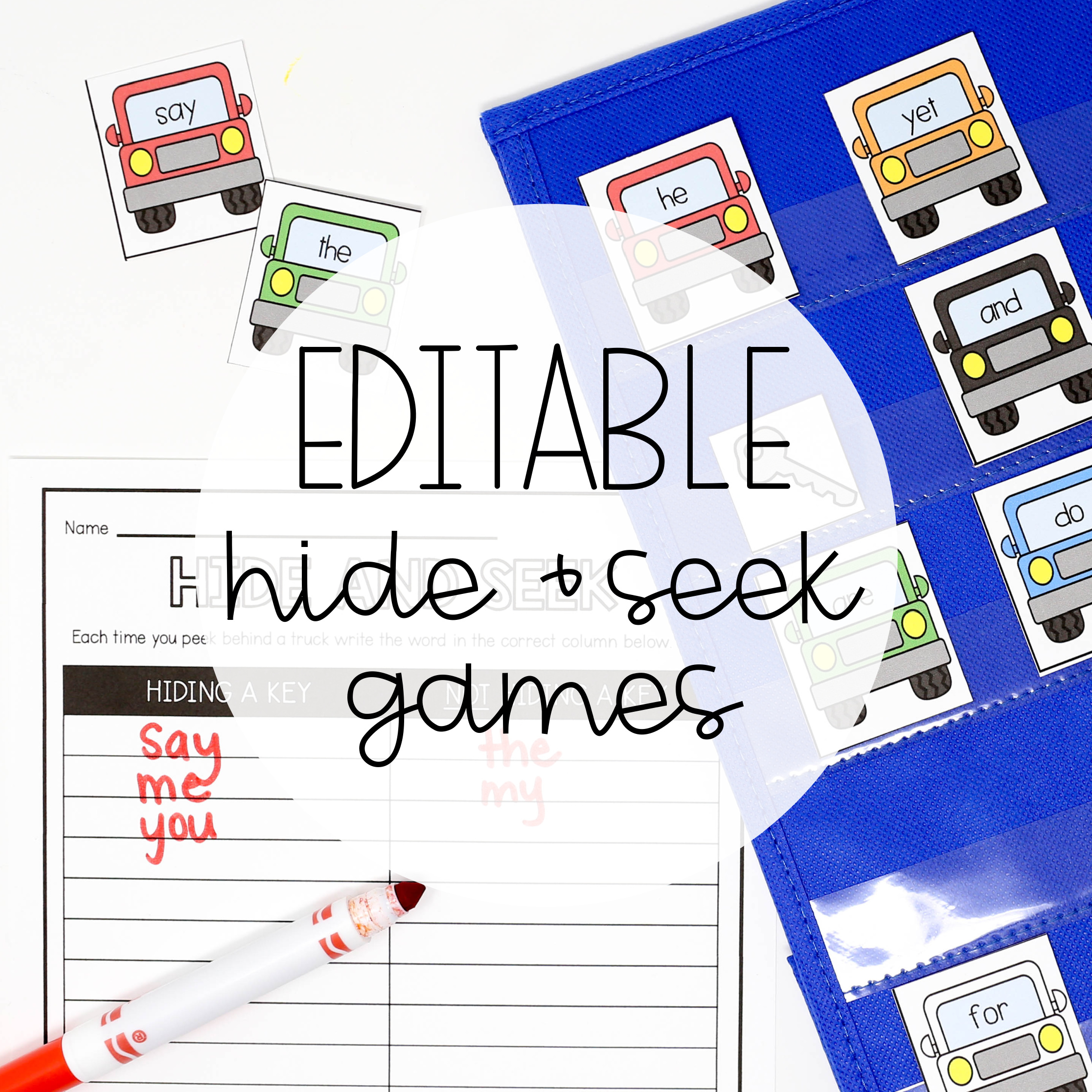 Editable Hide and Seek Pocket Chart Games