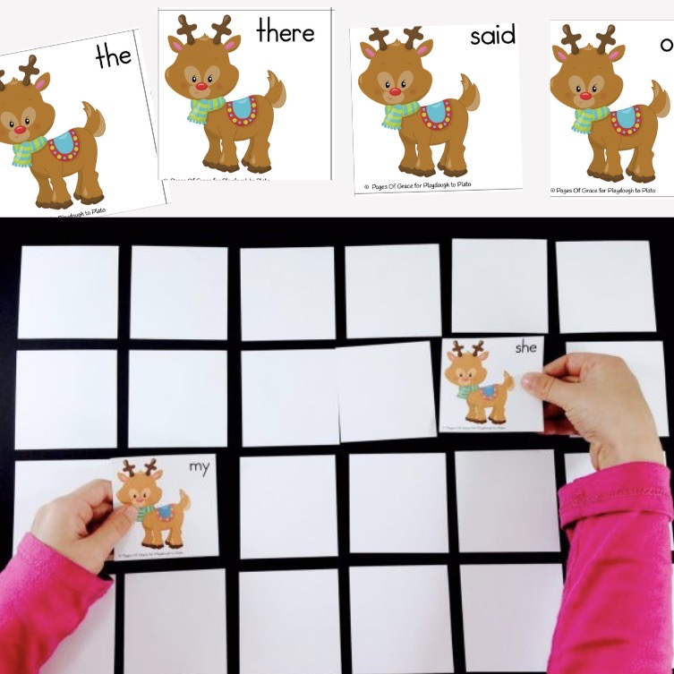 Reindeer Sight Word Matching Game