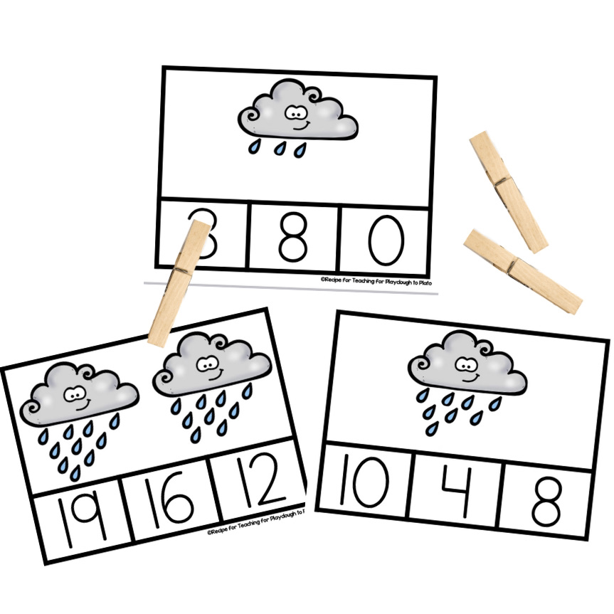 Rain Cloud Counting Clip Cards