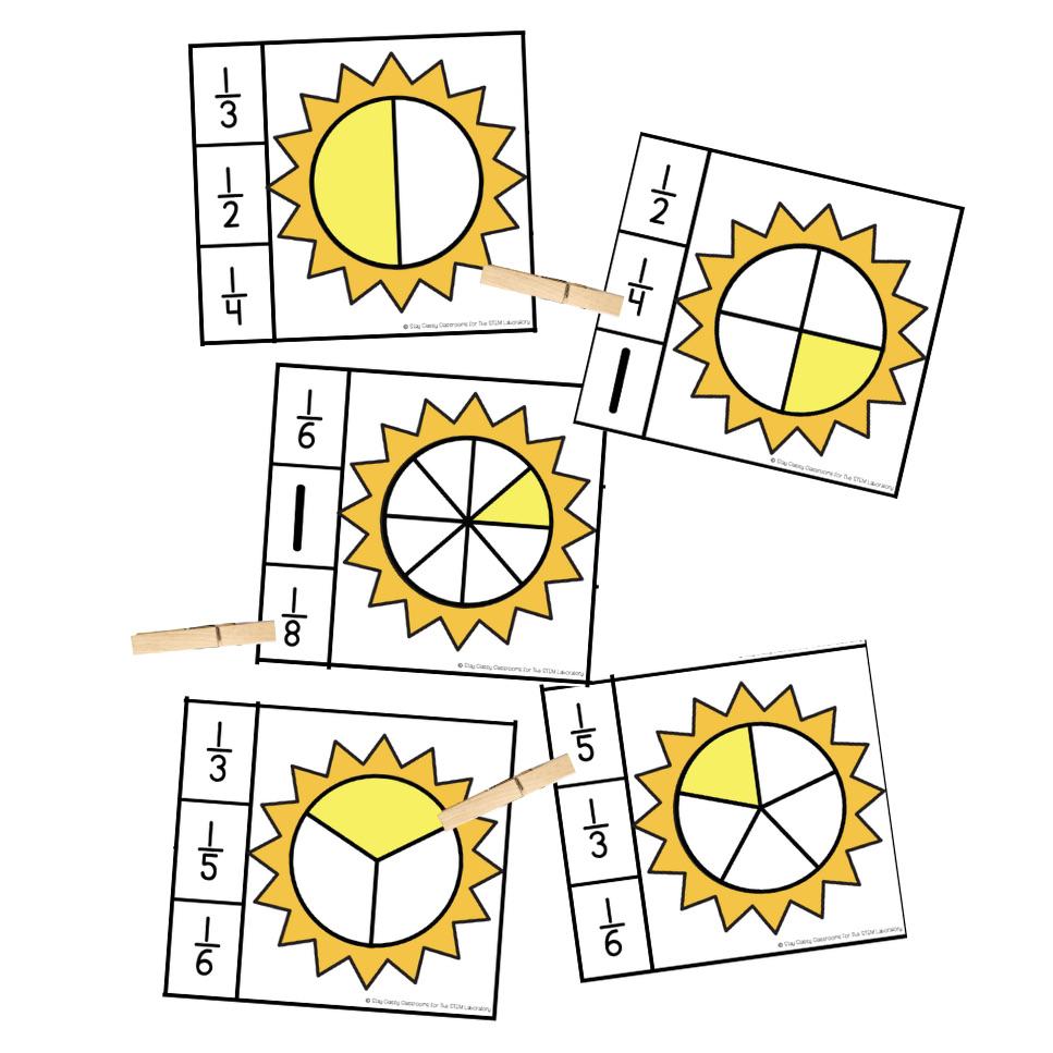 Sun Fraction Clip Cards