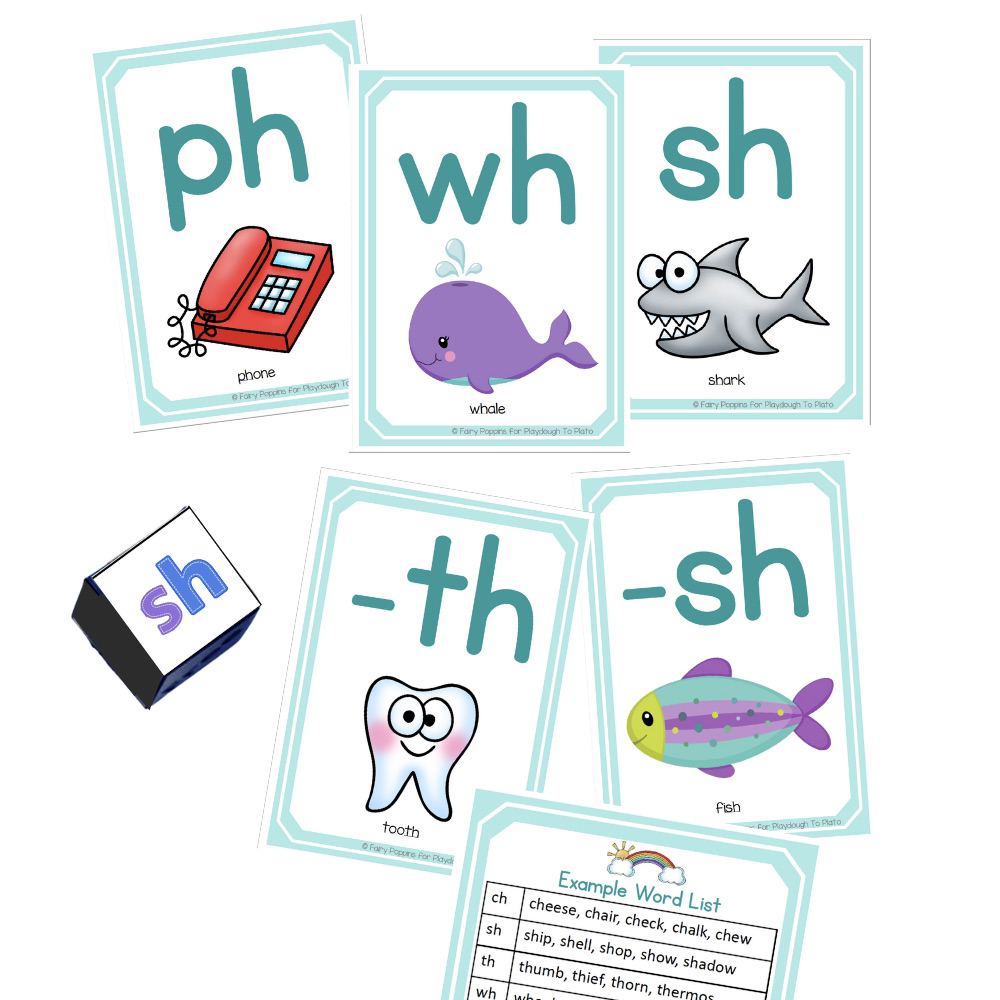 Consonant Digraph posters and Dice
