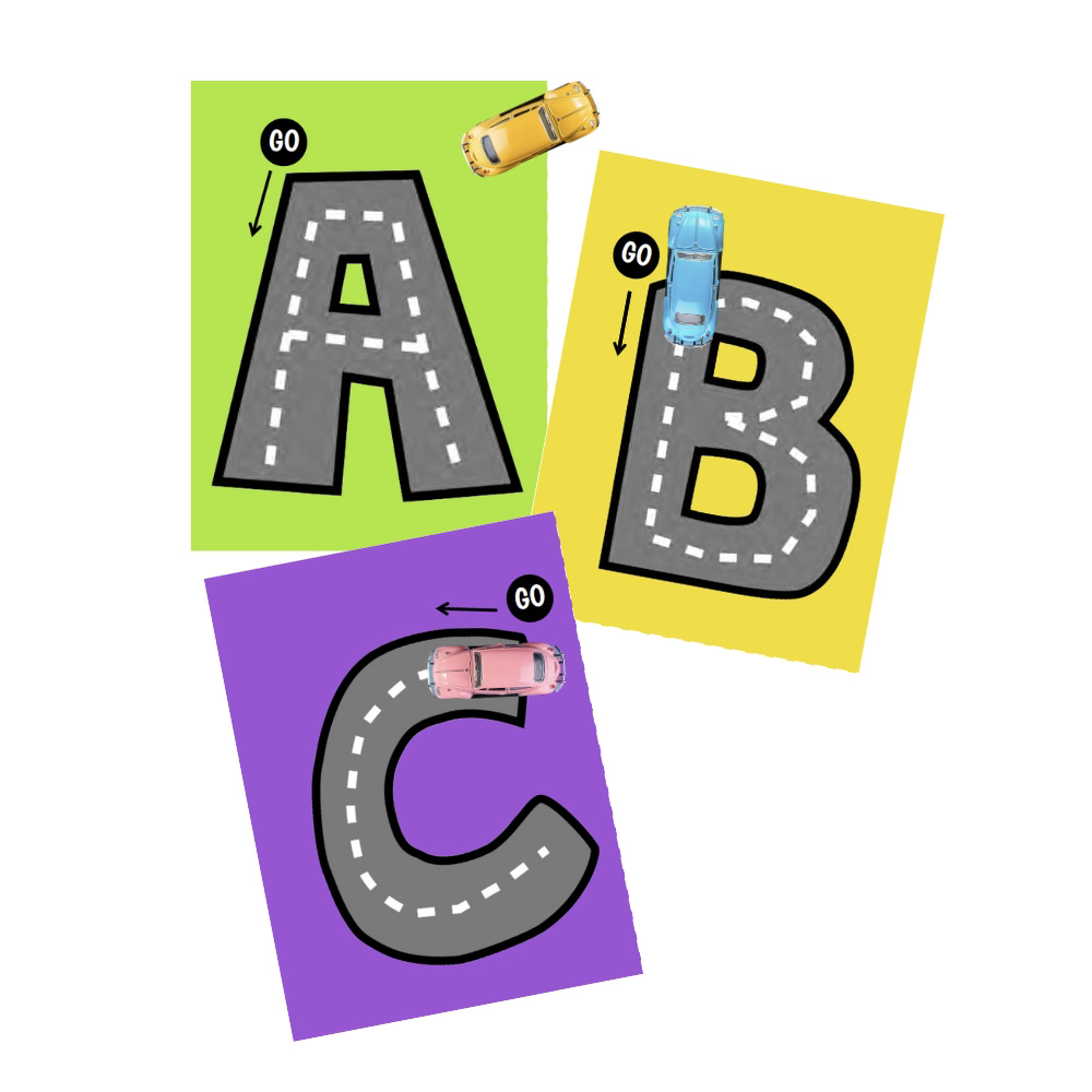 Uppercase Letter Tracing Roads