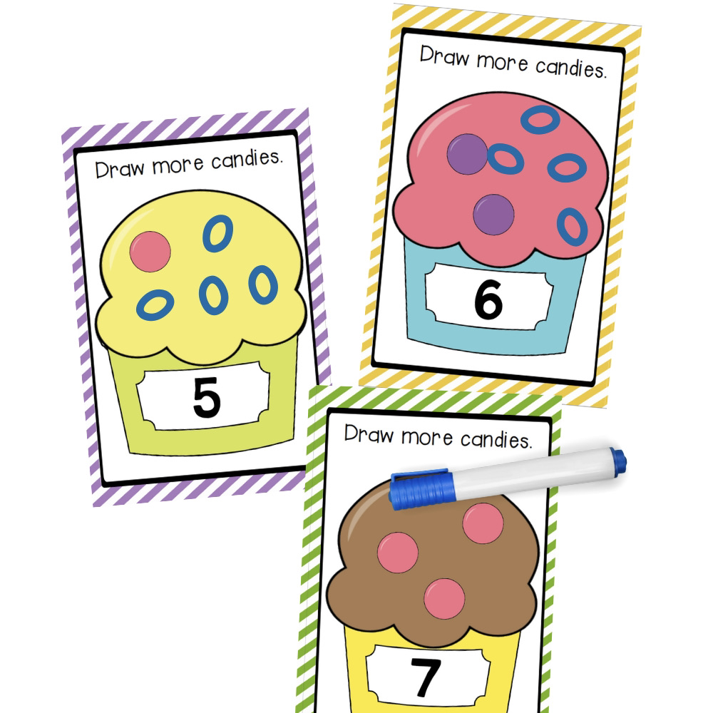 Write and Wipe Ice Cream Counting Cards